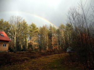 Healing yurt (on right, under rainbow)